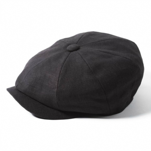 Newsboy Cap Linen - Failsworth Alfie - Black